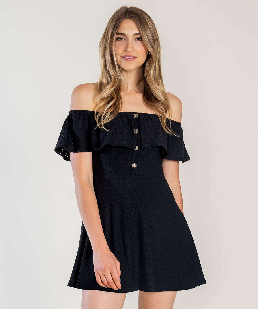 Presley Button Front Dress-Casual Dresses-XX SMALL-Black-Speechless
