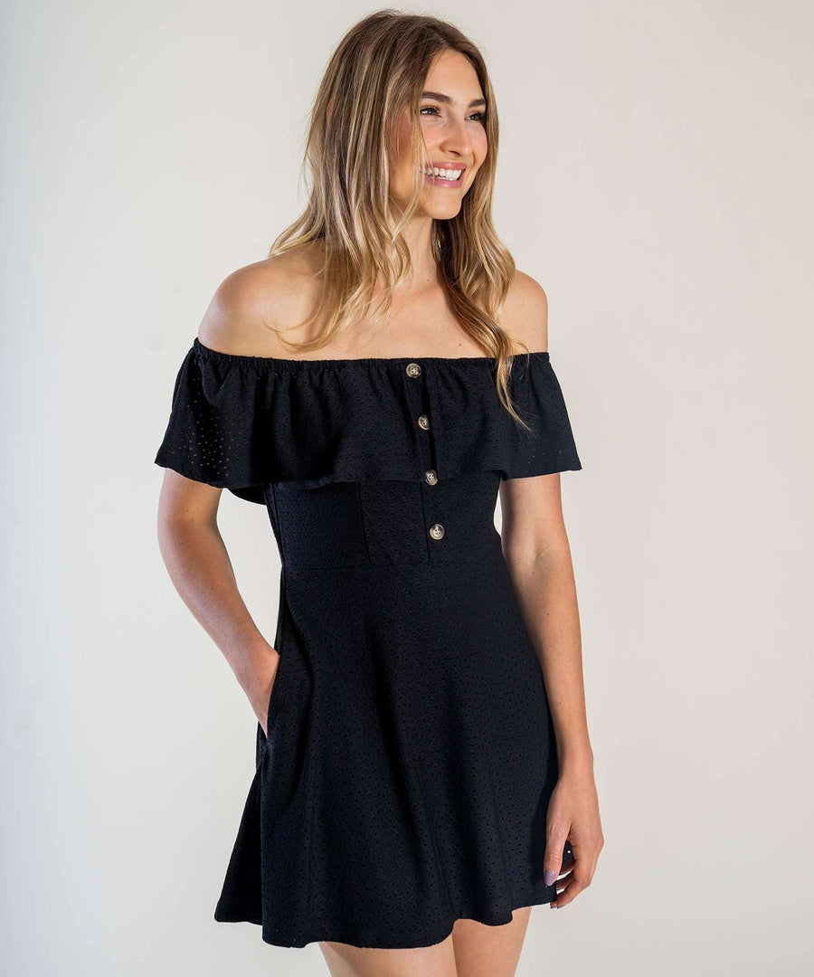 Presley Button Front Dress-Speechless