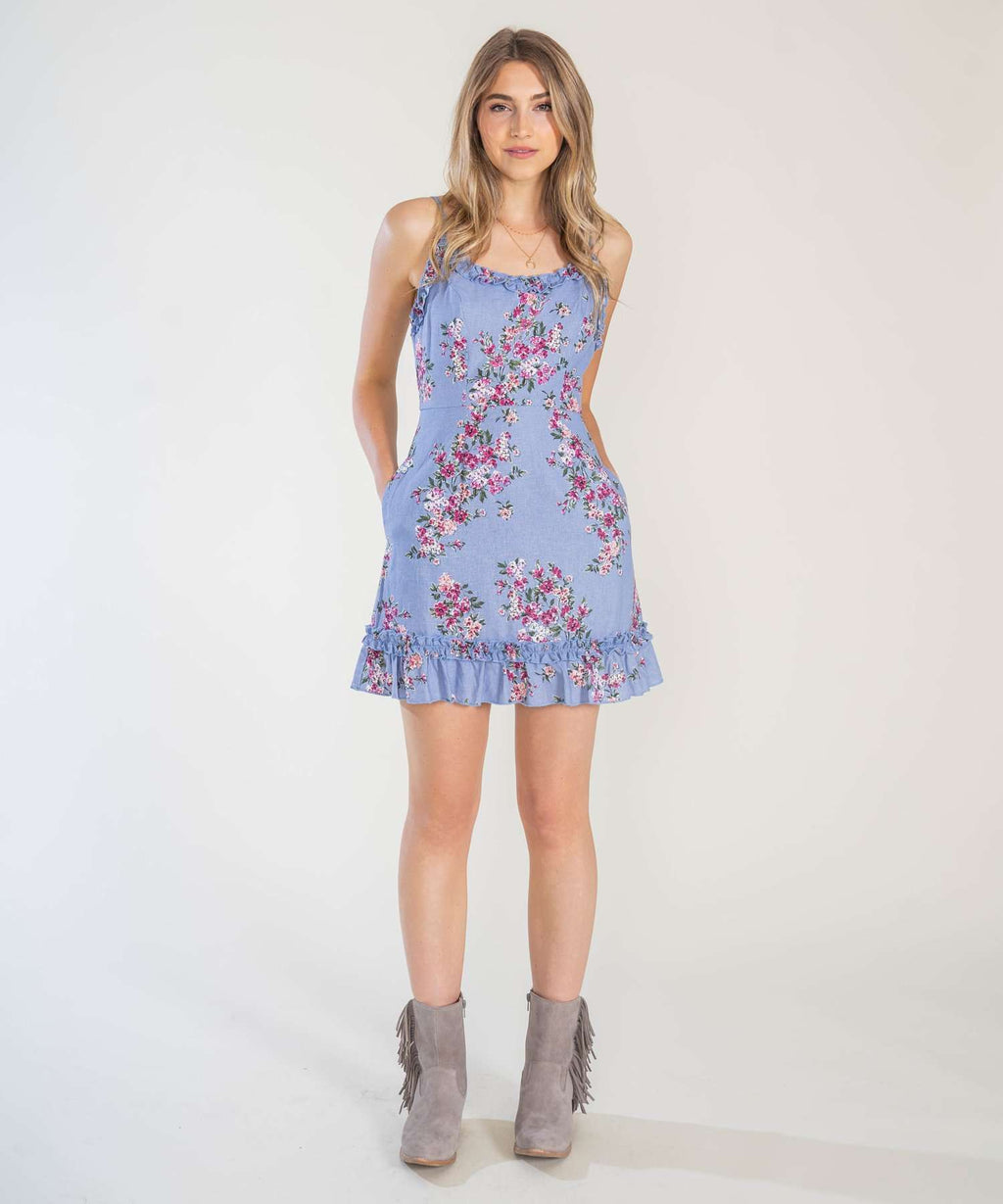 Blue Jean Baby Printed Ruffle Mini Dress