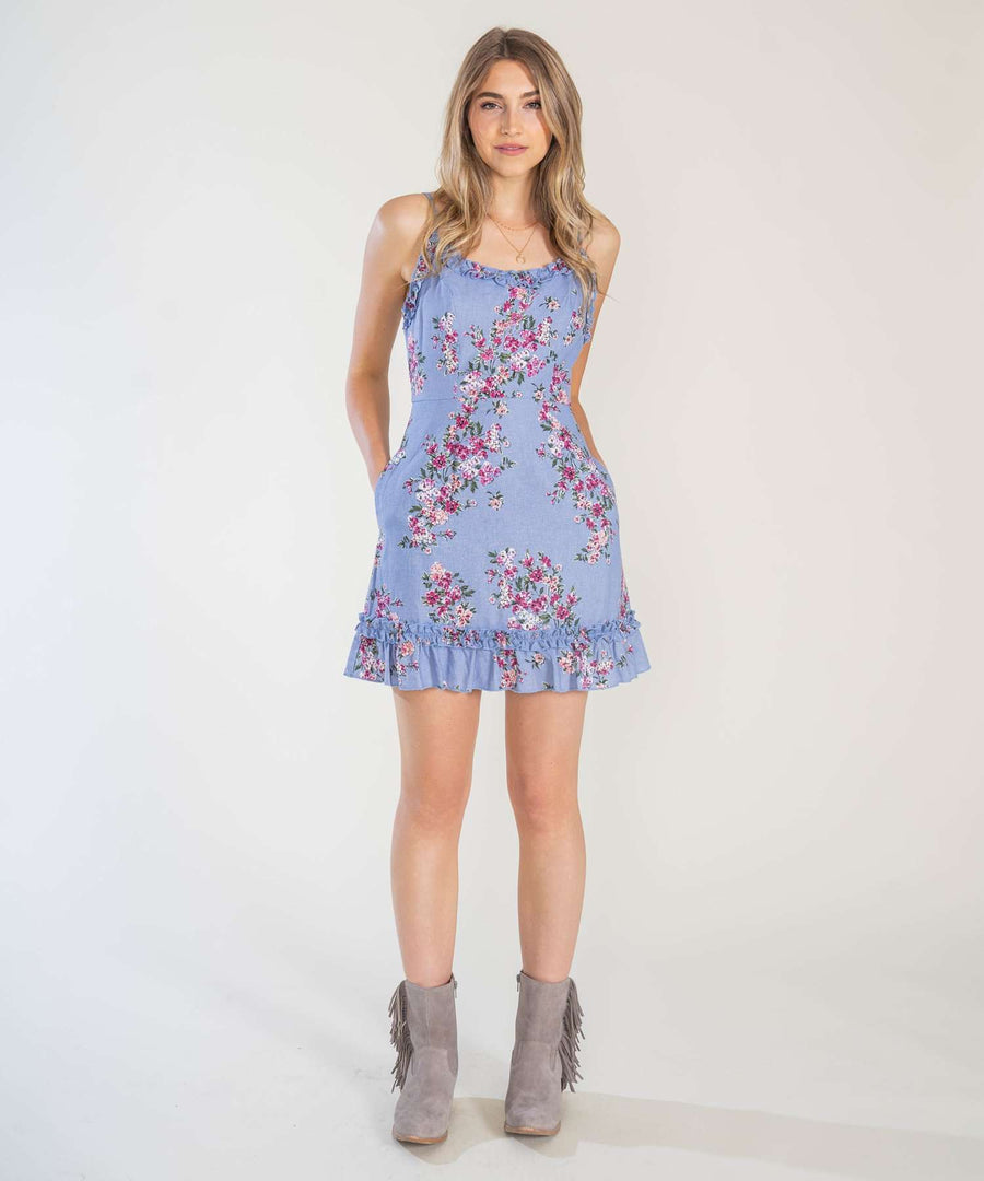 Blue Jean Baby Printed Ruffle Mini Dress-Casual Dresses-Speechless