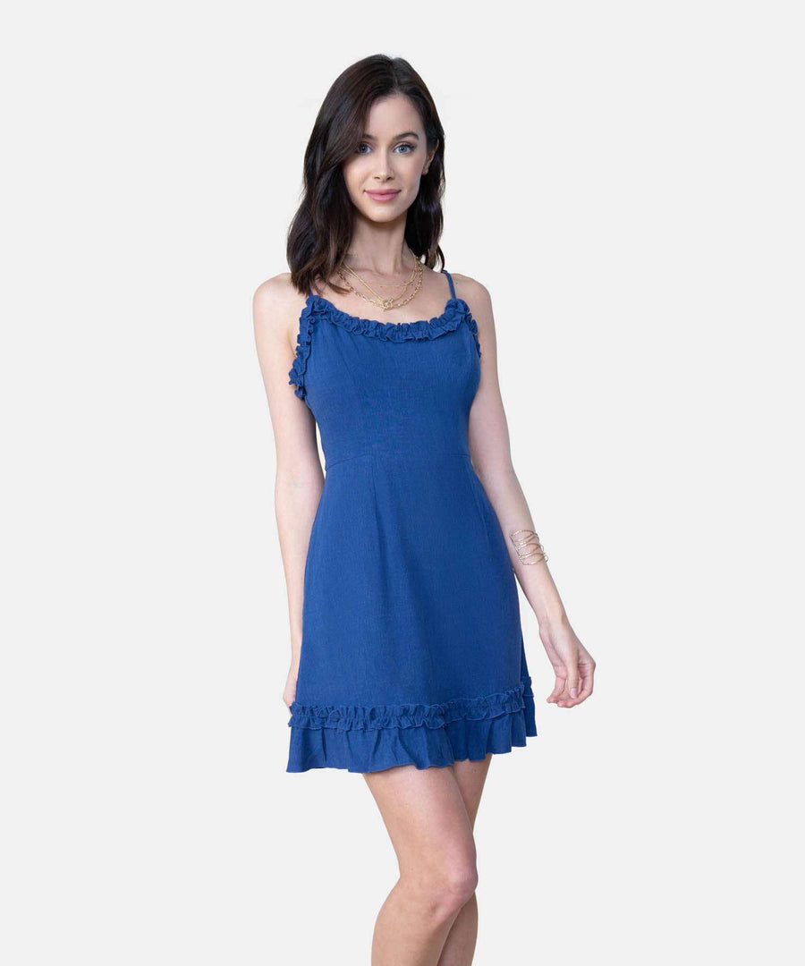 Blue Jean Baby Exclusive Ruffle Mini Dress-Casual Dresses-X SMALL-Denim-Speechless