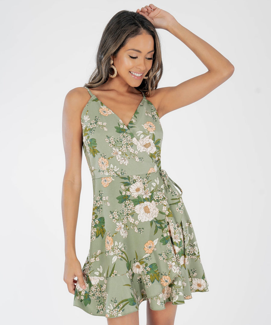 Jamie Floral Wrap Dress-Olive/Ivory-Speechless.com