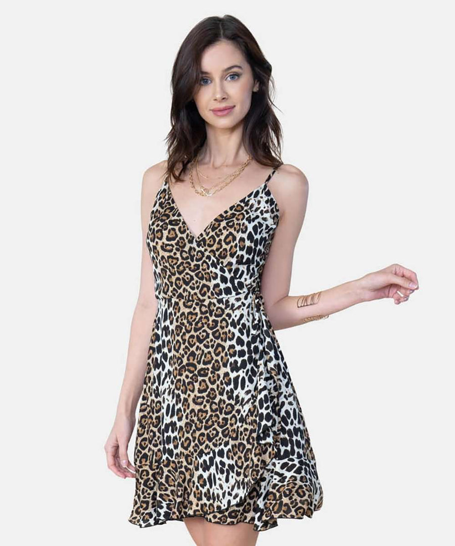 Jamie Exclusive Animal Wrap Dress-Casual Dresses-Speechless