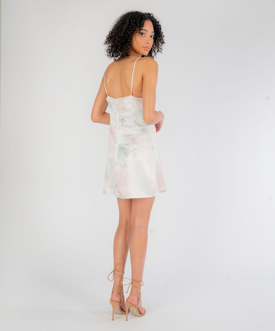Sahara Tie Dye Cowl Neck Slip Dress-Casual Dresses-Speechless.com