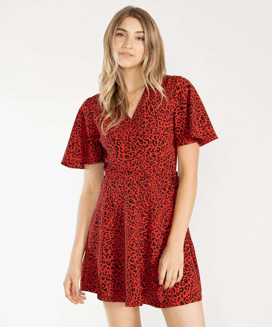 Wild Life Wrap Dress-Casual Dresses-XX SMALL-Red/Black-Speechless