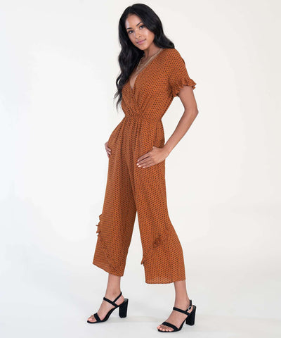 Rosie Ruffle Jumpsuit-Jumpsuit-XX SMALL-Copper/Black-Speechless