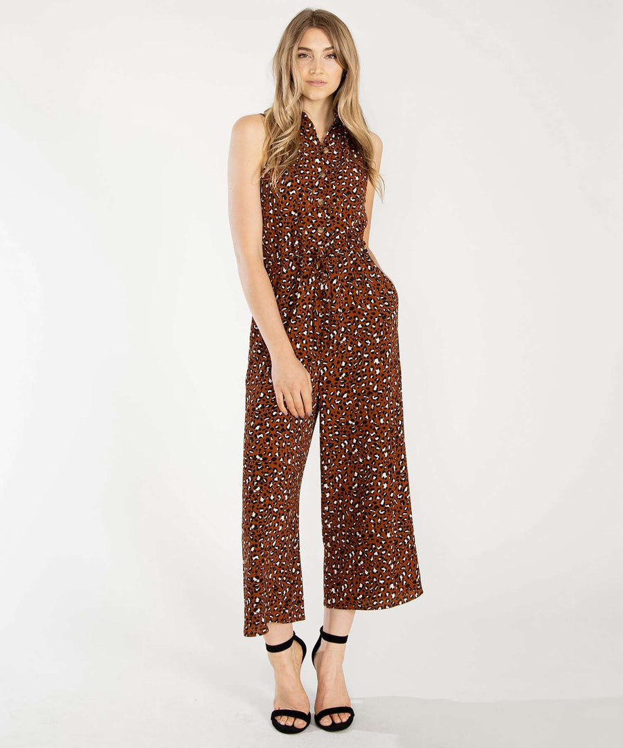 Cambrie Button Front Jumpsuit-Jumpsuit-XX SMALL-Copper/Sand-Speechless