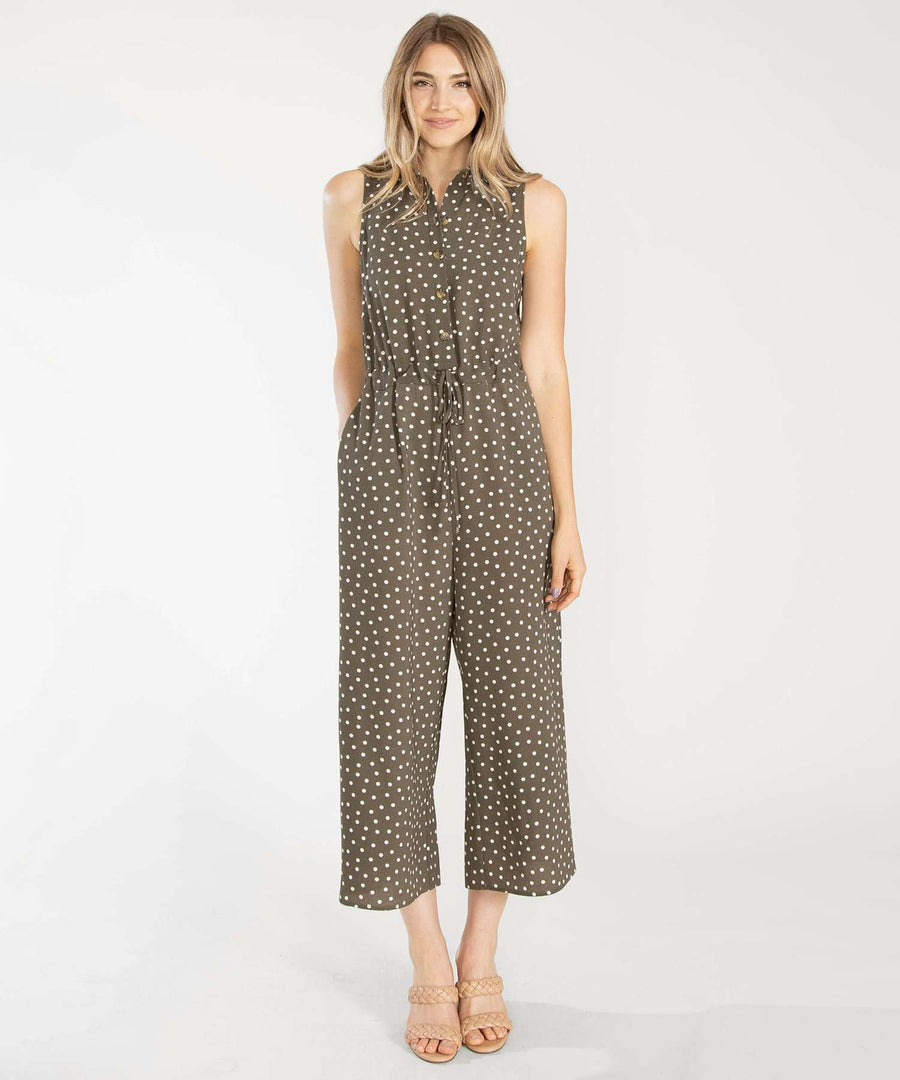 Cambrie Button Front Jumpsuit-Jumpsuit-XX SMALL-Olive/White-Speechless