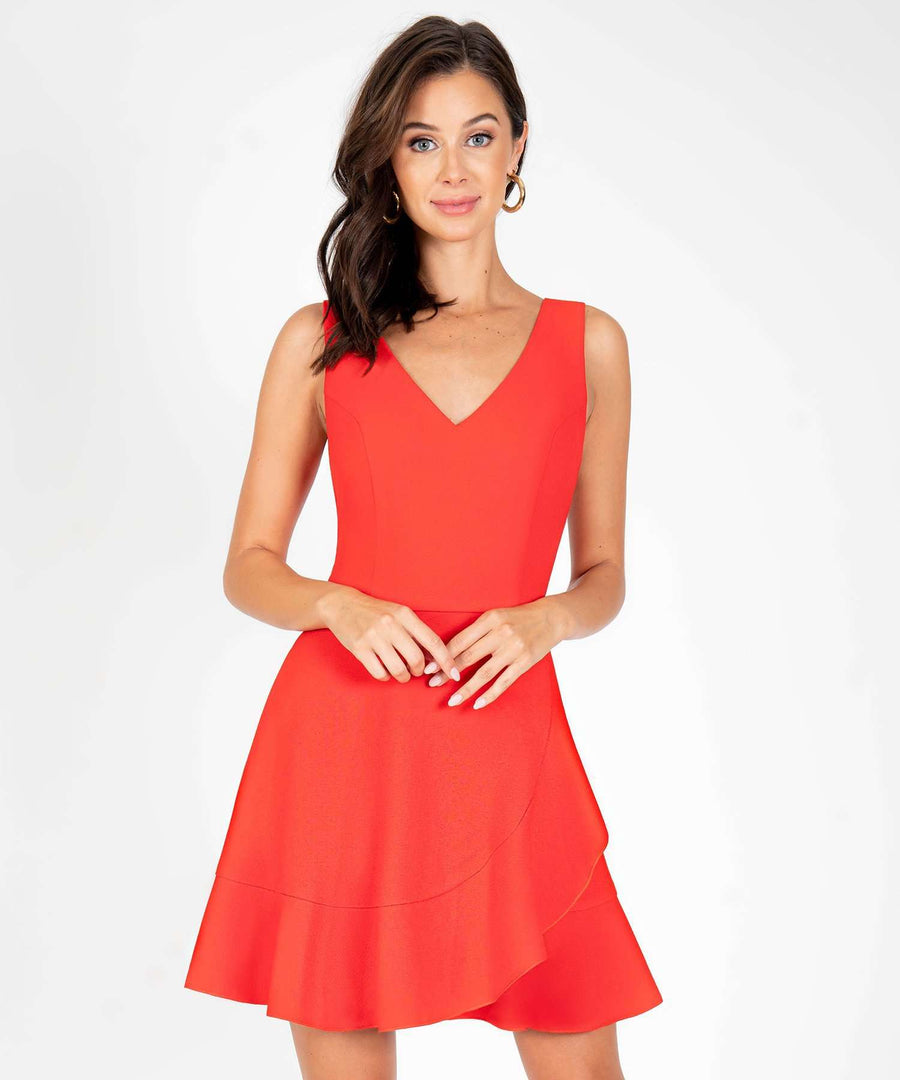 All My Love Ruffle Skater Dress-New-X SMALL-Red-Speechless.com