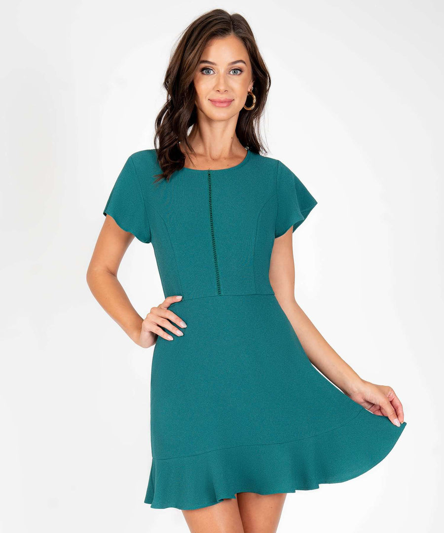 Don't Flutter Yourself Ruffle Dress-New-X SMALL-Hunter Green-Speechless.com