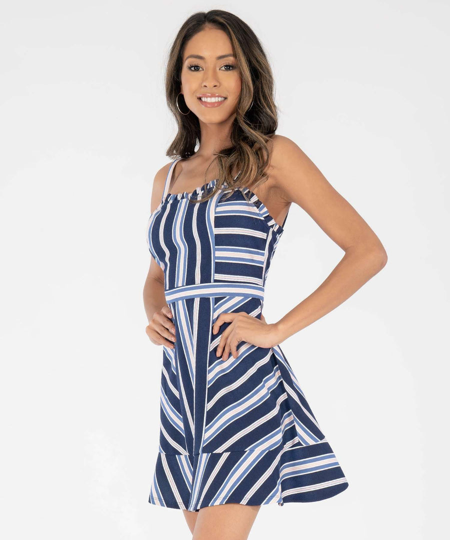 Bryant Stripe Skater Dress-Casual Dresses-Speechless.com