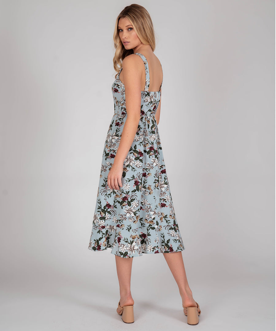 Sage Button Front Midi Dress-Casual Dresses-Speechless.com