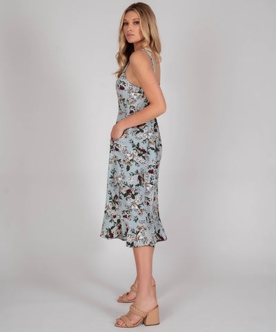 Sage Button Front Midi Dress - Image 2