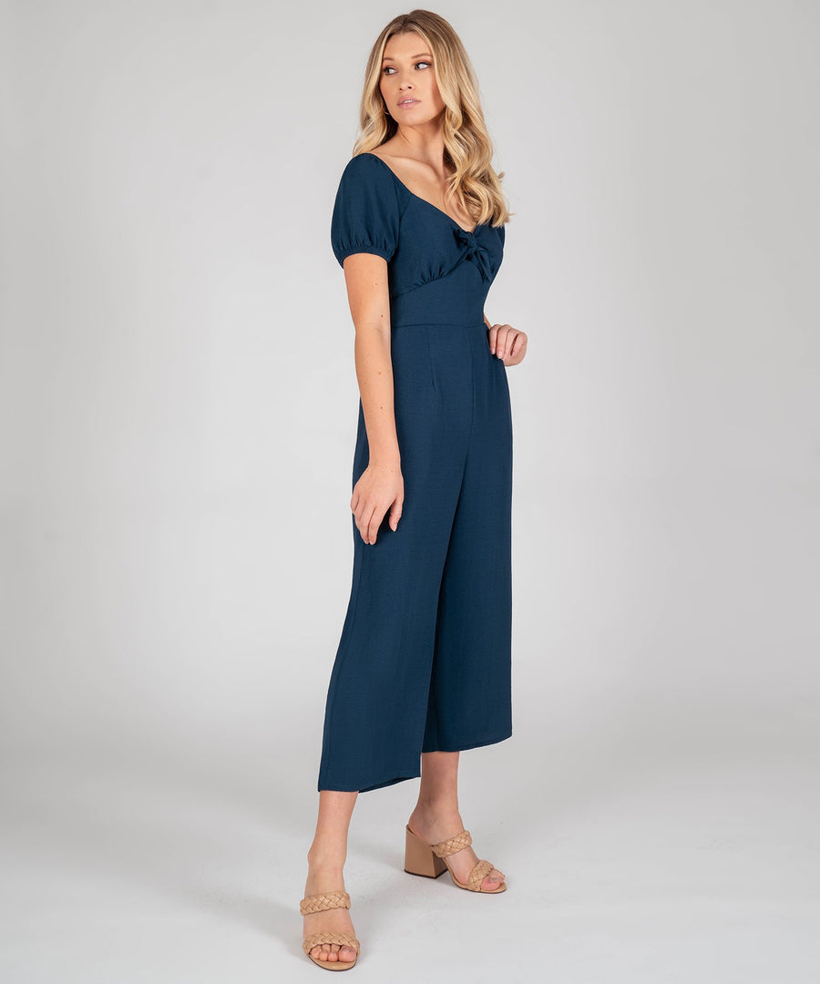 Sloane Tie Front Jumpsuit-Teal-Speechless.com