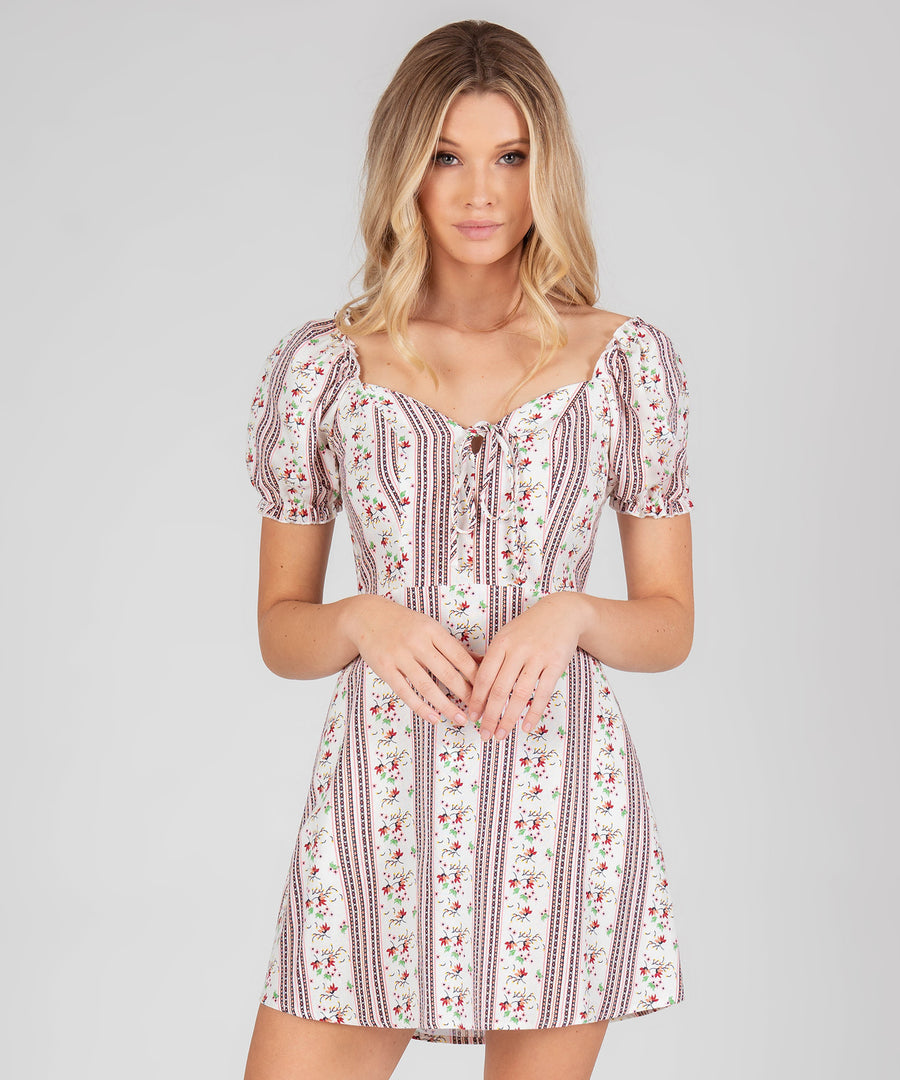 Alex Printed Puff Sleeve Dress-Casual Dresses-Speechless.com