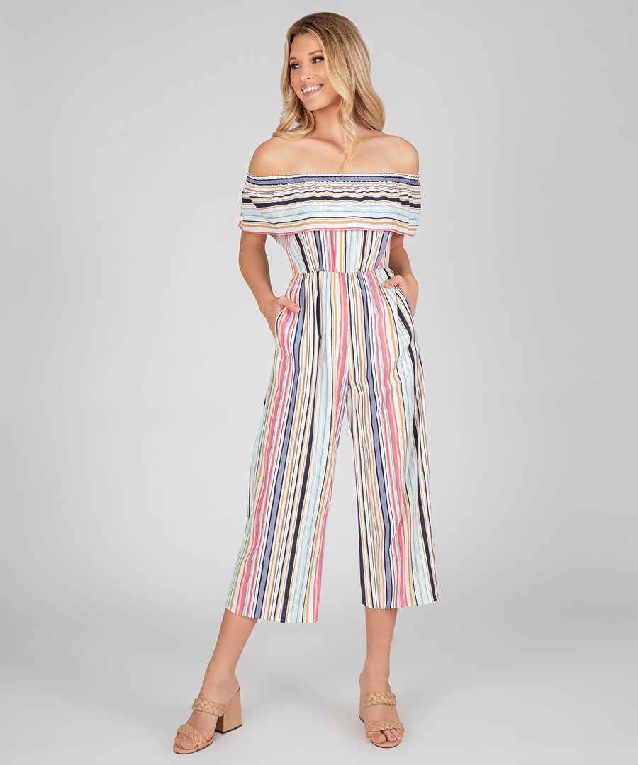 Presley Off The Shoulder Stripe Jumpsuit-Speechless.com