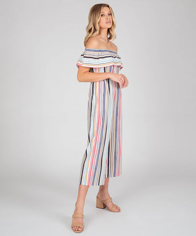 Presley Off The Shoulder Stripe Jumpsuit - Image 2