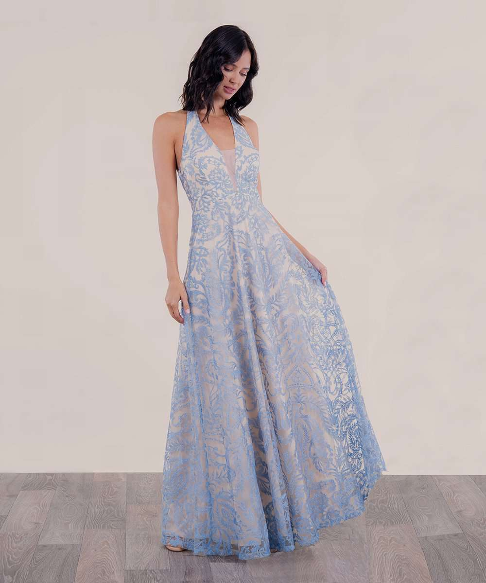 Emma Embroidered Halter Maxi Dress