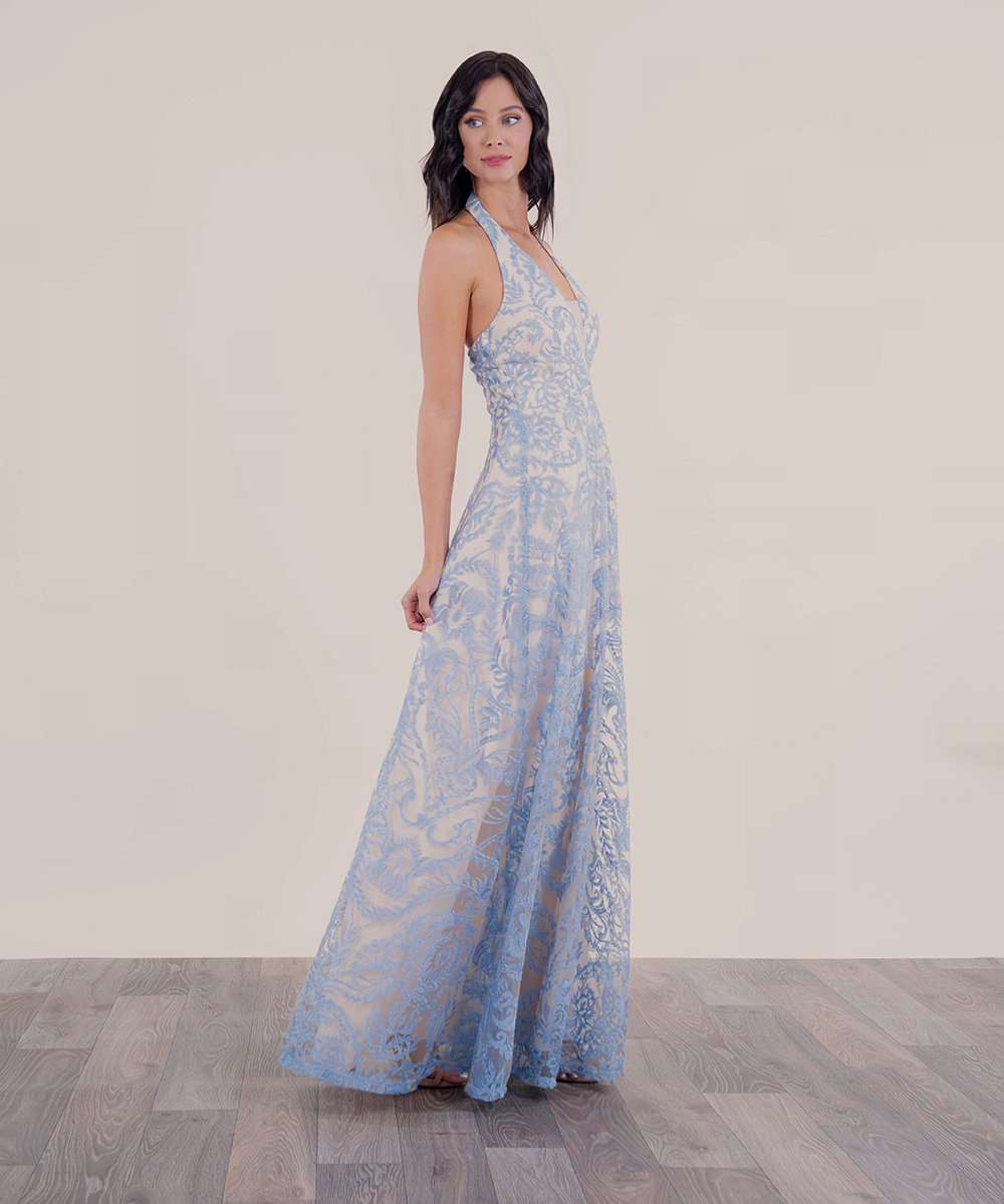 Emma Embroidered Halter Maxi Dress-Speechless
