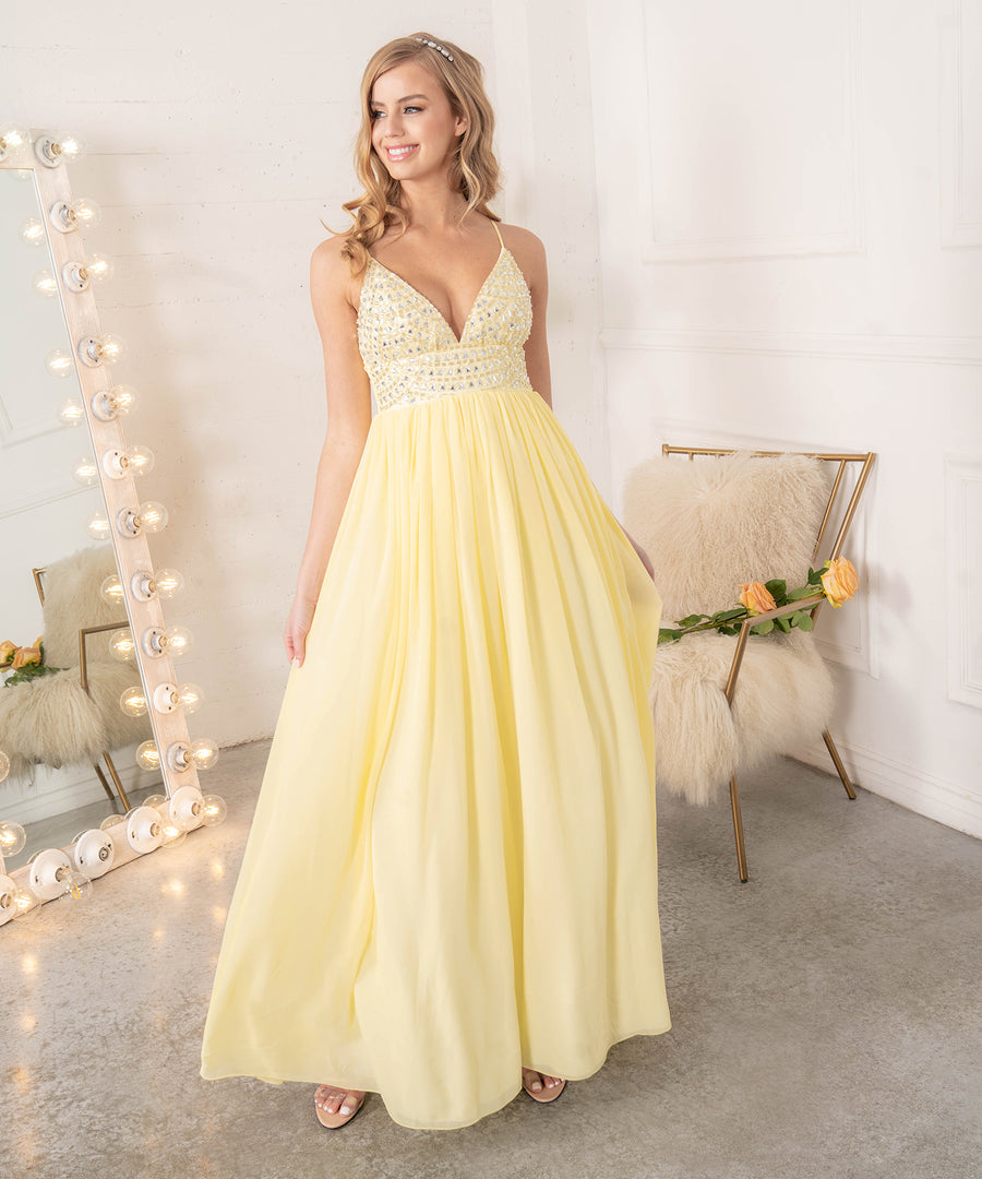 Selena Beaded Ball Gown Dress-Prom-Yellow/Ivory-Speechless.com