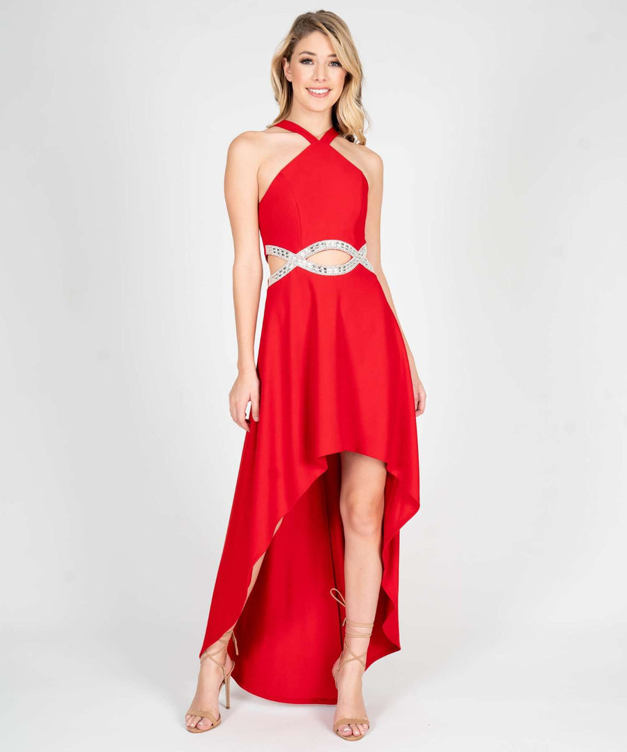 To The Moon And Back Infinity High-Low Dress-Prom-0-Red-Speechless.com