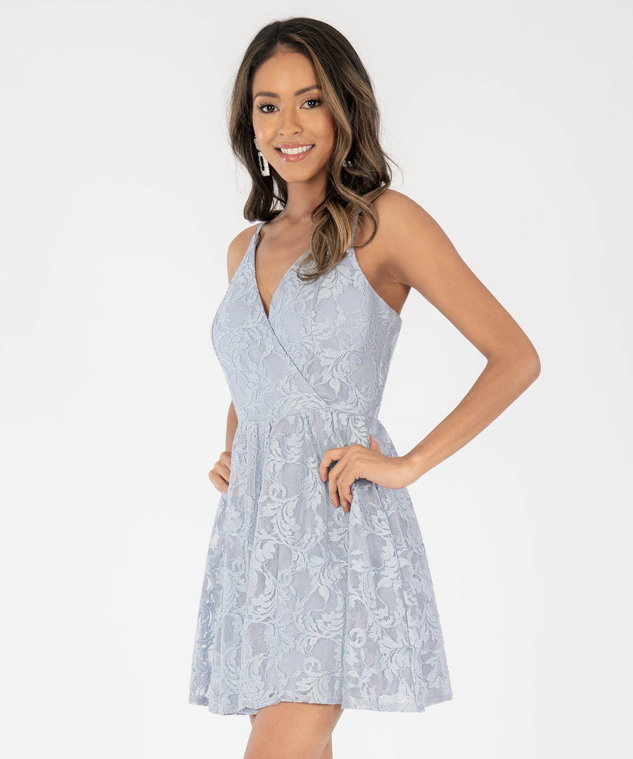 Once Upon A Time Lace Party Dress-Dusty Blue-Speechless.com