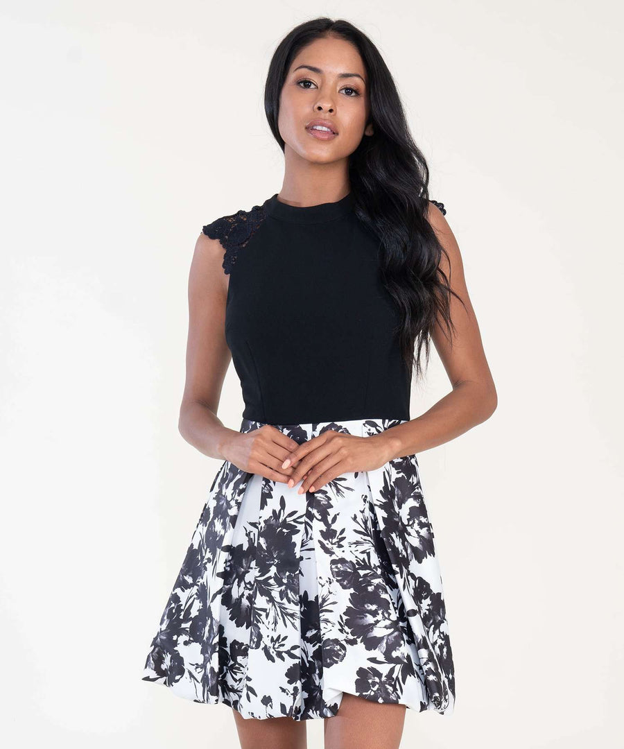 Madeline Printed Bubble Dress-Dressy Dresses-0-Ivory/Black-Speechless