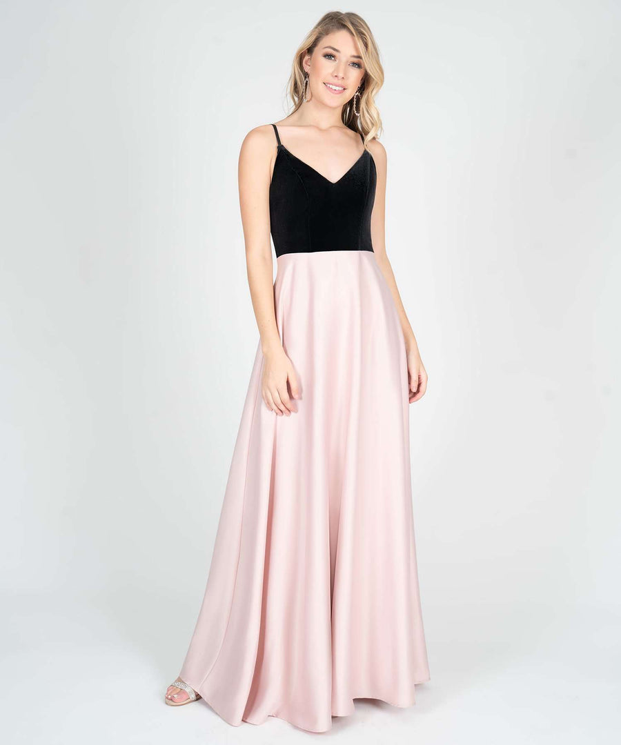 Ella Velvet Two Tone Maxi Dress-New-0-Blush/Black-Speechless.com