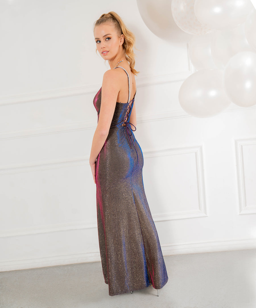 Jordan Metallic Shimmer Maxi Dress-Prom-Speechless.com