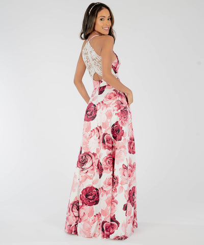 Dove Printed Lace Back Maxi Dress