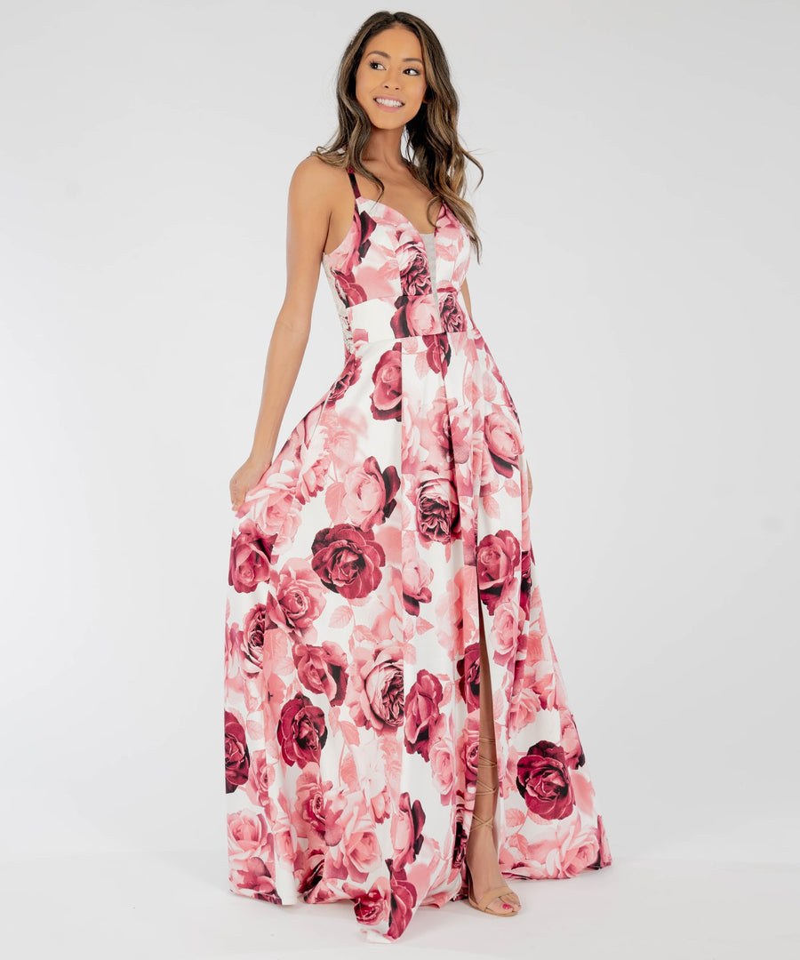 Dove Printed Lace Back Maxi Dress-Prom-Speechless.com