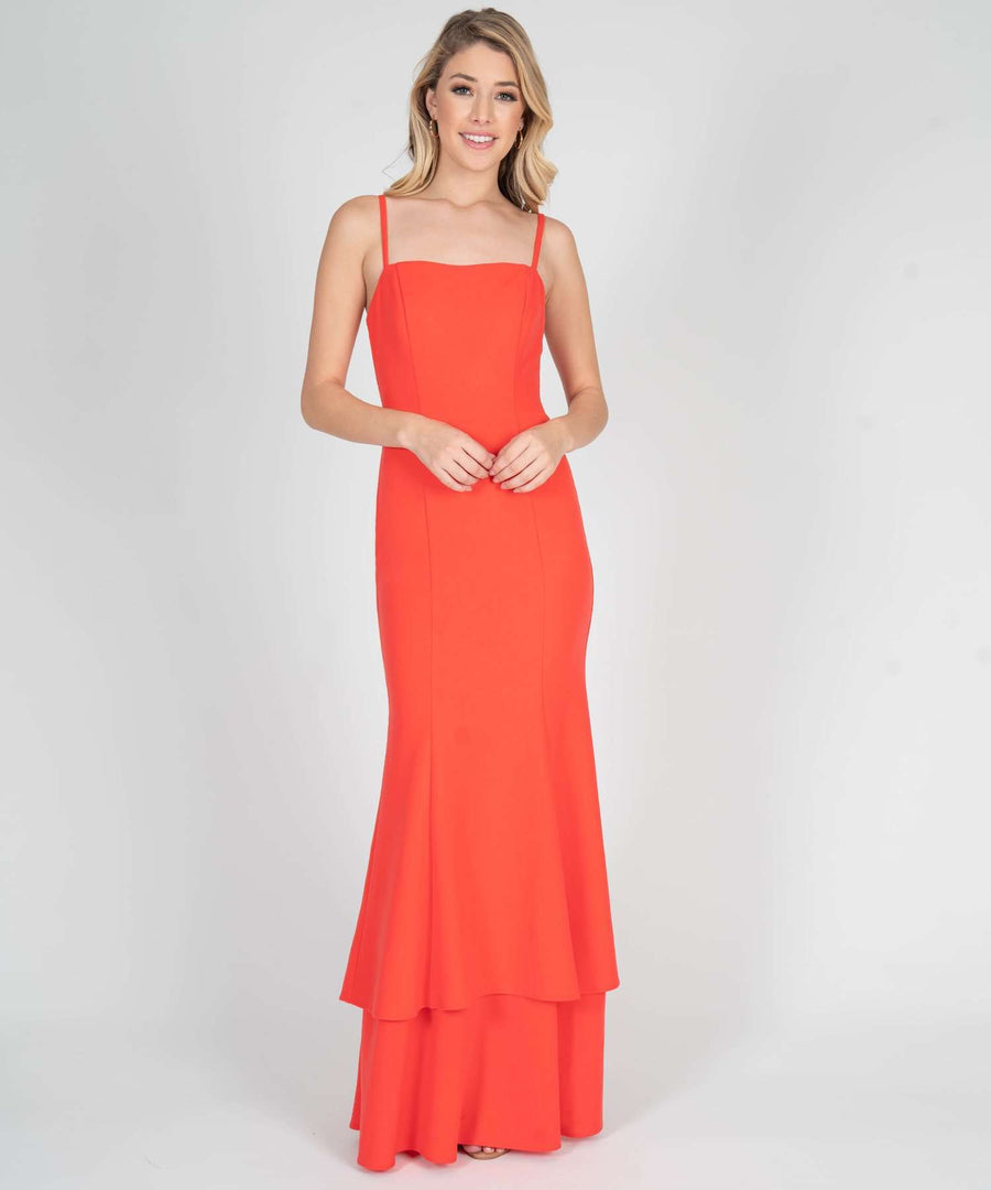 Arden Double Layer Maxi Dress-Prom-0-Bright Coral-Speechless.com