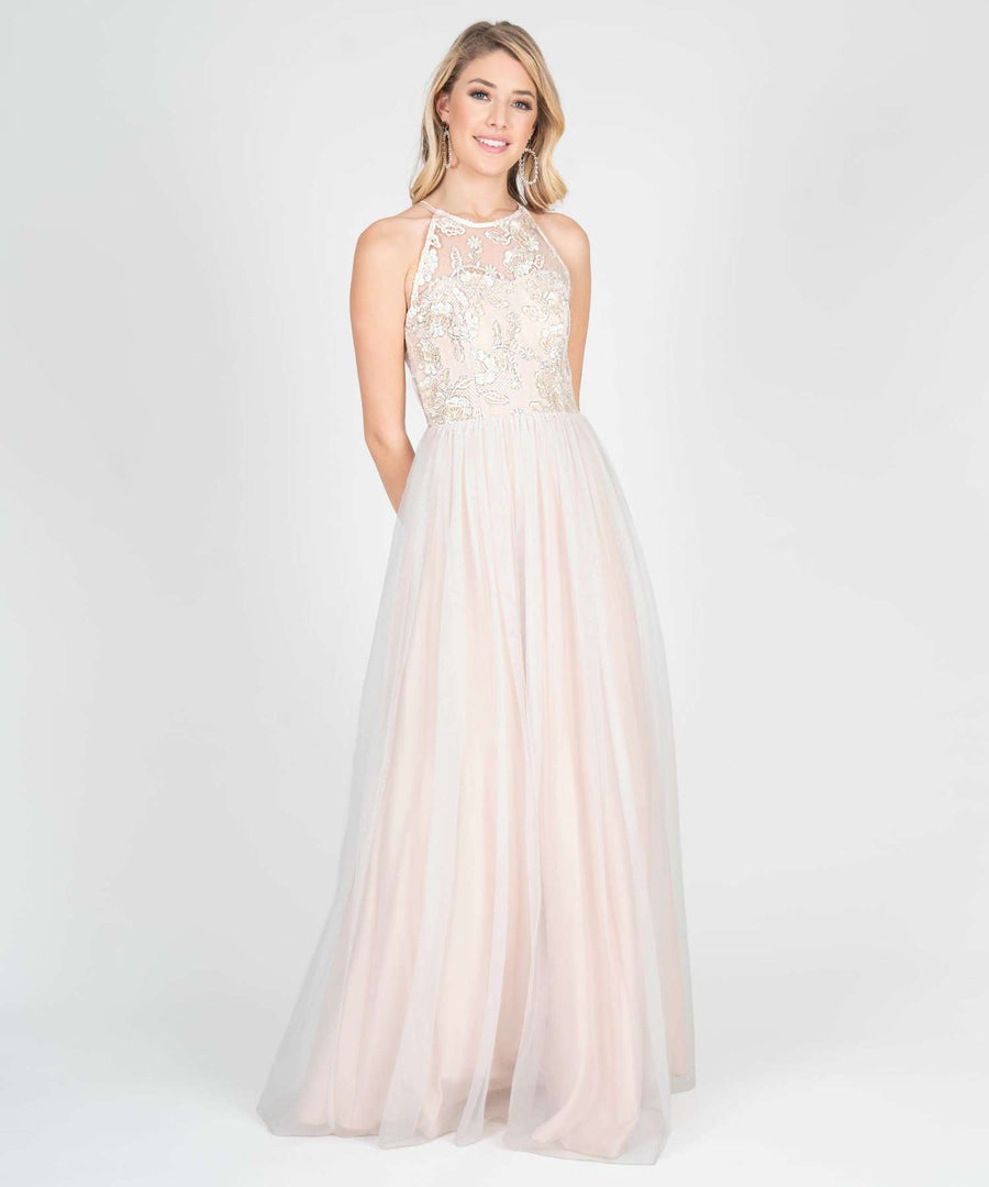 Blake Embroidered Ball Gown Dress-Prom-0-Dark Ivory-Speechless.com