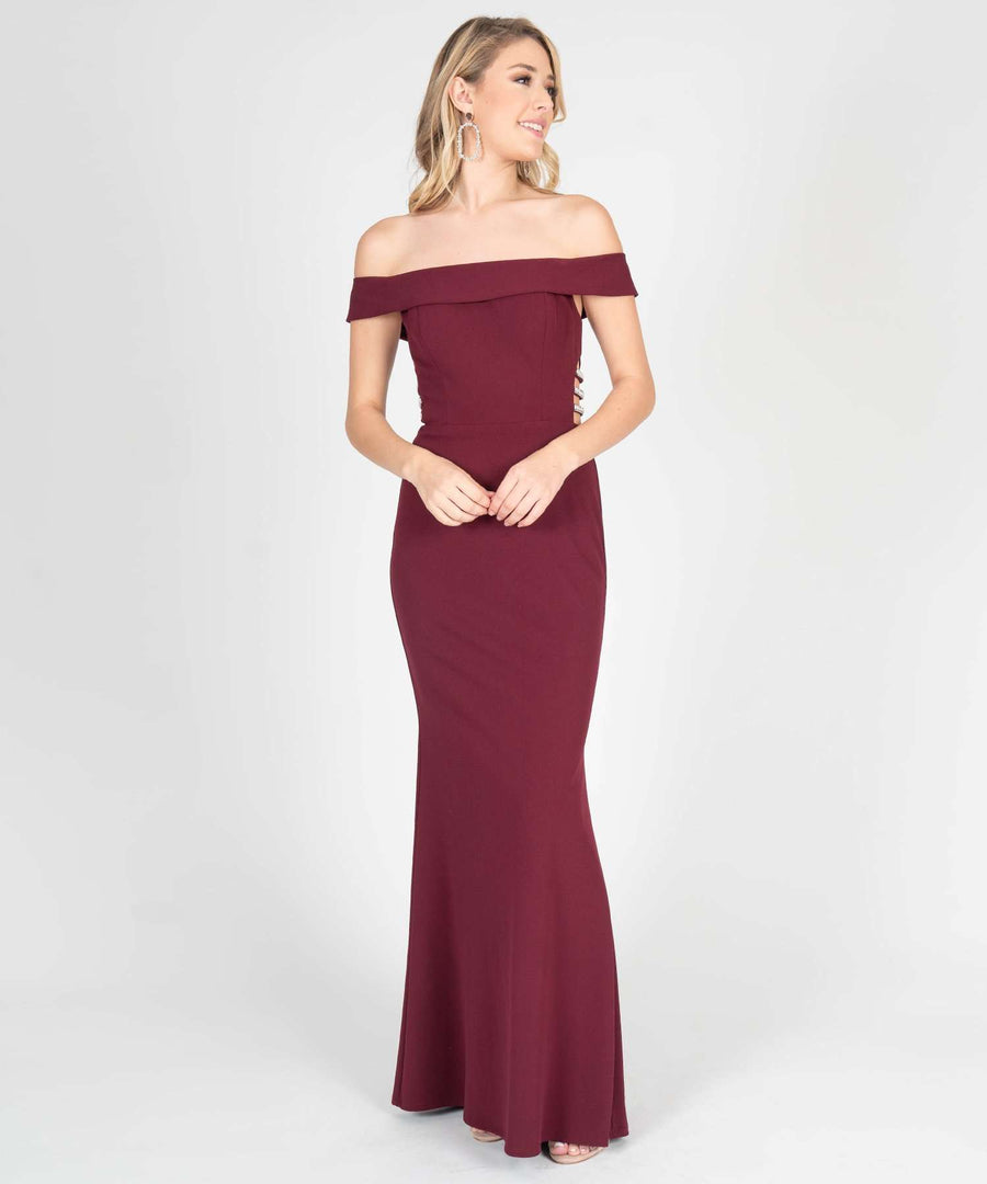 Beatrice Off The Shoulder Maxi Dress-Prom-0-Wine-Speechless.com