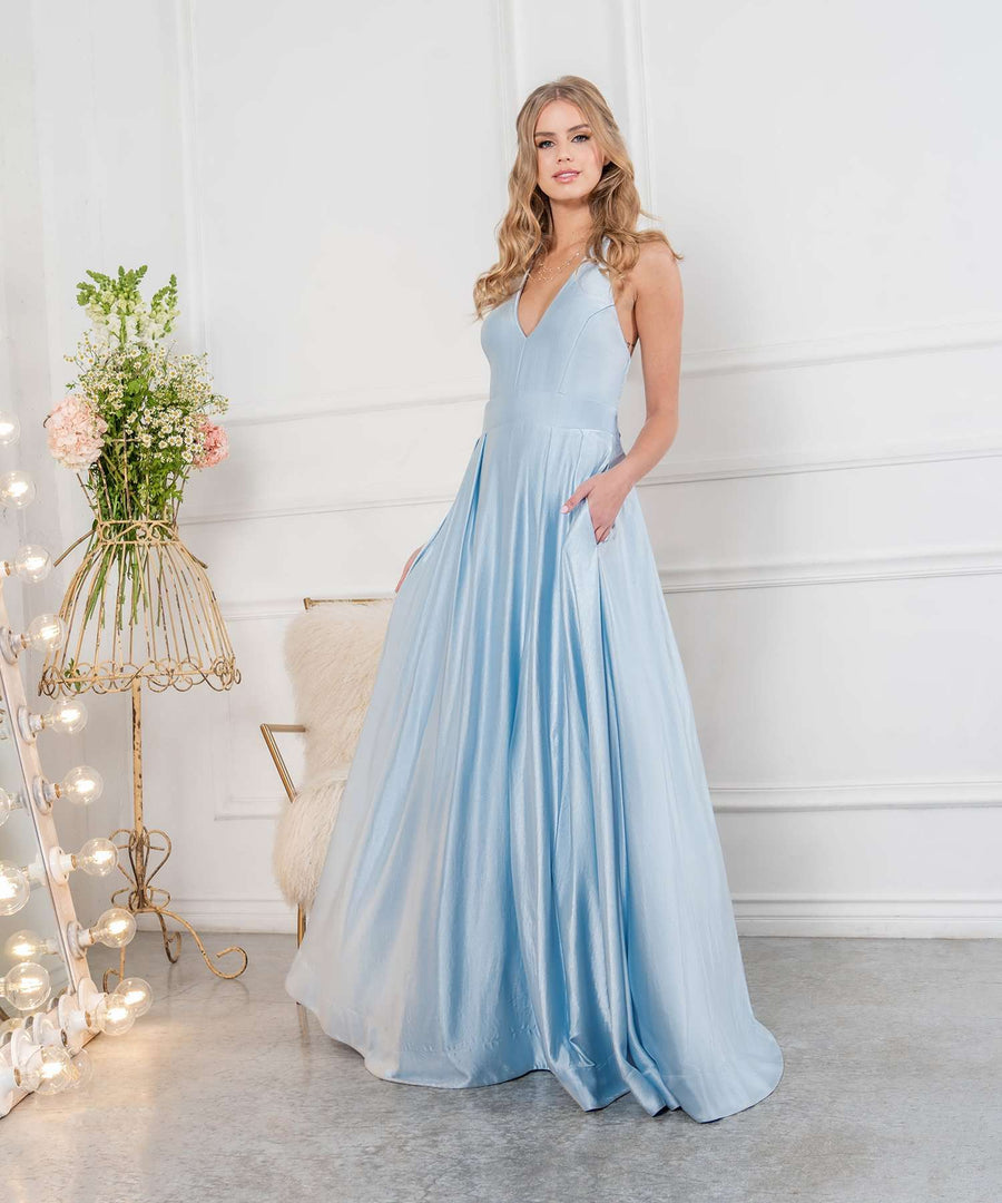 Mila Exclusive Halter Satin Ball Gown-Prom-Speechless.com