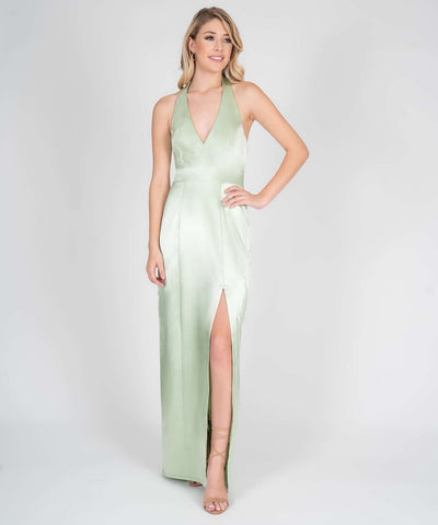 Mila Halter Satin Maxi Dress