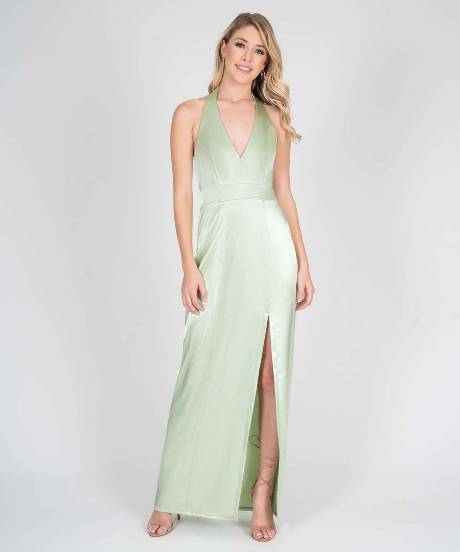 Mila Halter Satin Maxi Dress-Prom-Speechless.com