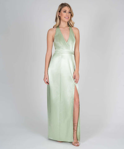 Mila Halter Satin Maxi Dress - Image 2