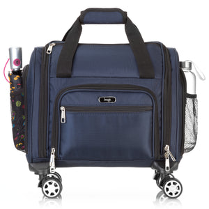 Brags Four Wheeled Spinner Underseat Carry On - Multiple Compartments (Navy)