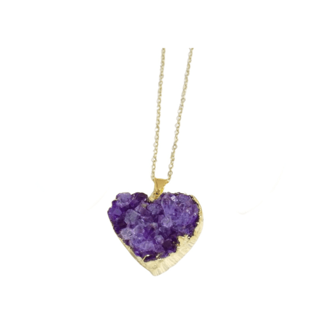 AMETHYST DRUZY HEART NECKLACE - Energy Wicks