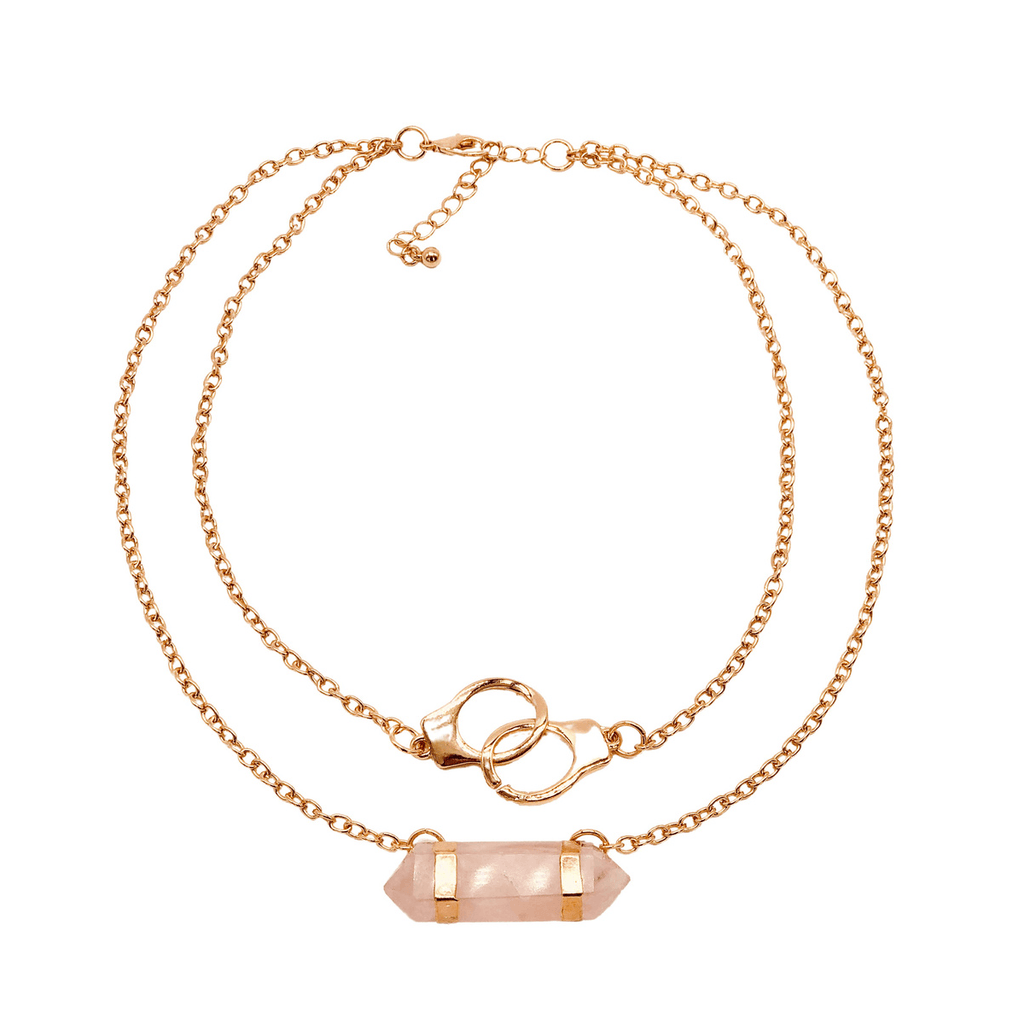 HANDCUFF ACCENTED ROSE QUARTZ NECKLACE - Energy Wicks