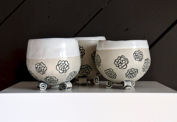 Footed Gourd Cups - Medium - White Clay