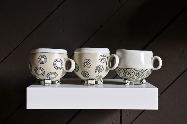 Footed Gourd Cups with Handle - Medium - White Clay