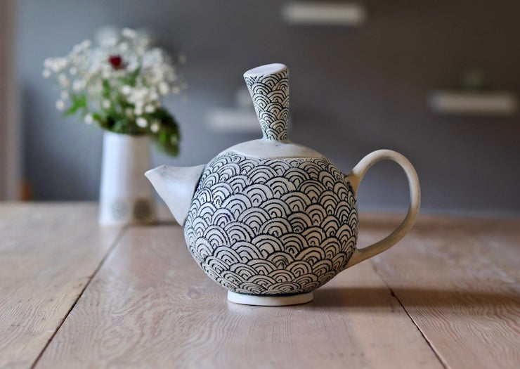 Teapot - White Clay + Scale - #2