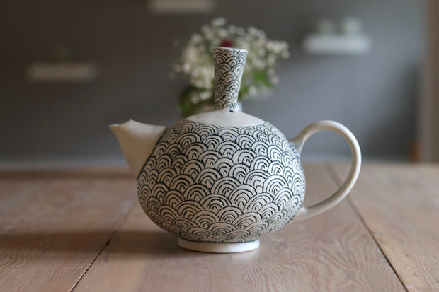 Teapot - White Clay + Scale - #1