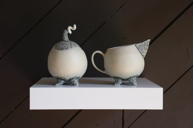 Creamer + Sugar Bowl - White Clay
