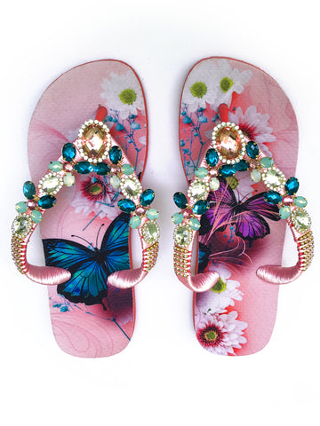 Hand made customized HAVAIANAS flip-flops | exclusive pink and blue butterflies pattern | white, rose and bluish green rhinestones/crystals - Comes with a bag with the same pattern - TOP MODEL
