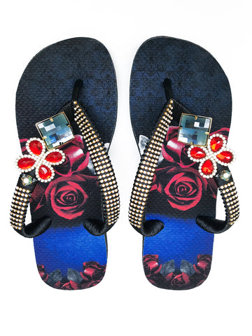 Customized HAVAIANAS flip-flop sandal | hand made with red and blue pattern - Comes with a bag and a face mask with the same pattern