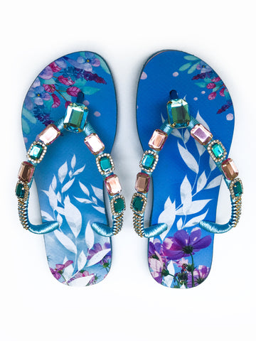Hand made customized HAVAIANAS flip-flops | exclusive nature inspired pattern | rose and blue rhinestones/crystals - Comes with a bag and a face mask with the same pattern - SLIM MODEL