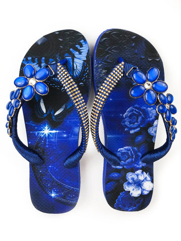 Hand made customized HAVAIANAS flip-flops | exclusive floral pattern | dark blue rhinestones - Comes with a bag and a face mask with the same pattern - TOP MODEL